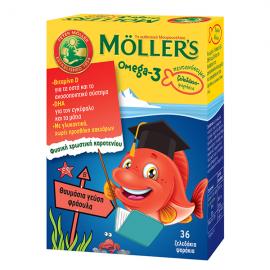 Mollers Omega-3 Zελεδάκια-Ψαράκια με Γεύση Φράουλα - 36τμχ