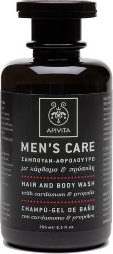 Apivita Mens Care Σαμπουάν - Αφρόλουτρο με Κάρδαμο και Προπόλη, 250ml