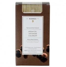 Korres Βαφή Argan Oil Advanced Colorant 8.1 Ξανθό Ανοικτό Σαντρέ