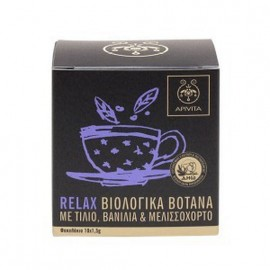 Apivita Relax, Χαλαρωτικό Βιολογικό Μίγμα Βοτάνων με τίλιο, βανίλια & μελισσόχορτο 10x1.5g