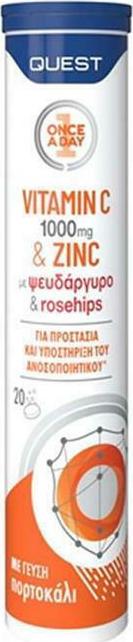 Quest Vitamin C 1000mg & Zinc 20 αναβράζοντα δισκία Πορτοκάλι