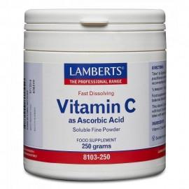 Lamberts Vitamin C as Ascorbic Acid Βιταμίνη ως Άσκορβικό Όξυ Σκόνη 250gr