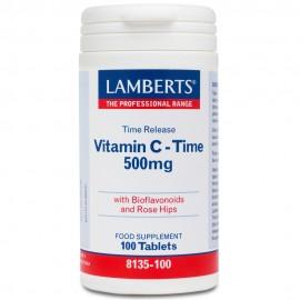 Lamberts Vitamin C 500mg Time Release Βιταμίνη C Βραδείας Απελευθέρωσης 100 Ταμπλέτες