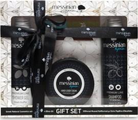 Messinian Spa Premium Gift Set Μαύρη Τρούφα Αφρόλουτρο 300ml+Σαμπουάν 300ml+Kρέμα Χεριών & Σώματος 250ml