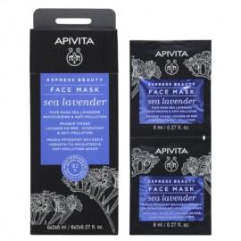 Apivita Moisturizing & Anti-pollution Face Mask With Sea Lavender 2x8ml