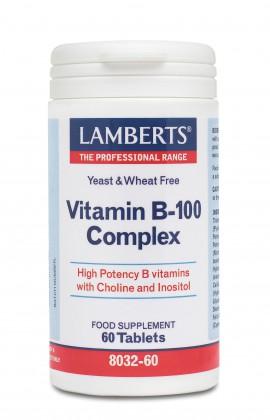 Lamberts Vitamin B-100 Complex Σύμπλεγμα Βιταμίνης B 60 Tablets