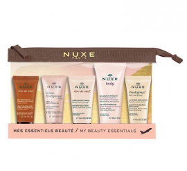 Nuxe Travel Kit With Face Cleansing and Make-up Removing Gel 15ml + Cream Prodigieuse Boost 15ml + Prodigieux Body Lotion 15ml + Hand and Nail Cream 15ml + Melting Shower Gel 30ml