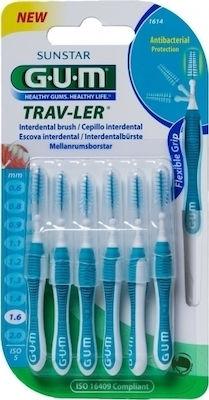 Gum Trav-Ler Interdental Brush, Μεσοδόντια Βουρτσάκια 1,6Mm 6Τμχ