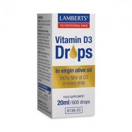 Lamberts Vitamin D3 Drops Συμπλήρωμα Διατροφής Βιταμίνης D3 20ml / 600 Drops