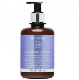 Apivita Cleansing κρεμώδες αφρός καθαρισμού προσώπου & μάτια με ελιά και λεβάντα 300ml