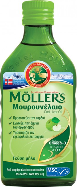 Mollers Μουρουνέλαιο Cod Liver Oil Γεύση Μήλο 250ml