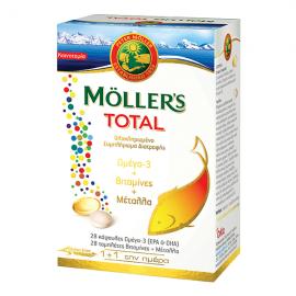 Mollers Total Ολοκληρωμένο Συμπλήρωμα Διατροφής με 28caps Ω3 + 28tabs Βιταμίνες & Μέταλλα