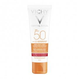 Vichy Ideal Soleil Αντιηλιακή Κρέμα Προσώπου 3 σε 1 Αντιγήρανση SPF50, 50ml