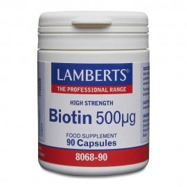 Lamberts Biotin 500mcg Βιοτίνη Βιταμίνες για τα Μαλλιά 90 Κάψουλες