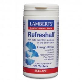 Lamberts Refreshall Σύμπλεγμα Gingko, Βάλσαμο λεμονιού, Φασκόμηλο και Δεντρολίβανο για την Ενίσχυση της Μνήμης 120 Tabs