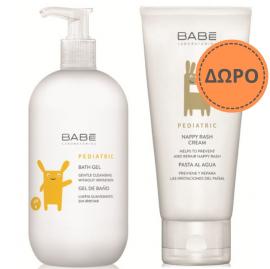Babe Pediatric PROMO PACK με Bath Gel Ήπιο Αφρόλουτρο για Βρέφη & Παιδιά, 500ml & ΔΩΡΟ Nappy Rash Cream Κρέμα για Σύγκαμα, 100ml