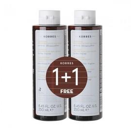 Korres Πρωτεΐνες Ρυζιού & Τίλιο Σαμπουάν λεπτά αδύναμα μαλλιά 250 ml 1+1 Δώρο