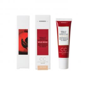 Korres Wild Rose Άγριο Τριαντάφυλλο Colour Correcting Cream CC Spf 30 Ανοιχτόχρωμη Απόχρωση 30 ml