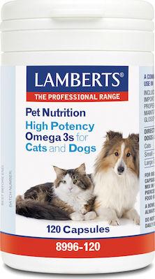 Lamberts Pet Nutrition High Potency Omega 3s Cats & Dogs, Συμπληρωματική Ζωοτροφή για Σκύλους και Γάτες 12Caps