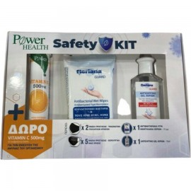 Power Health Safety Kit - Υφασμάτινη Μάσκα Μαύρη 2 τμχ, Μασκες Χειρουργικές 5τμχ, Fleriana Αντισηπτικό 75ml, Fleriana Αντιβακτηριακά Μαντηλάκια 15 τμχ & ΔΩΡΟ Vitamin C 500mg 20 eff. tabs