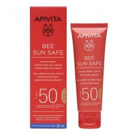 Apivita Bee Sun Safe Hydra Fresh Tinted Face Gel-Cream Marine Algae & Propolis SPF50 50ml