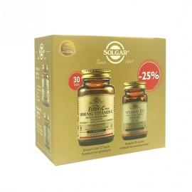 Solgar Ester-C Plus Vitamin C 1000mg 30 ταμπλέτες & Vitamin D3 2200iu, Promo Pack  50 κάψουλες