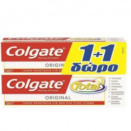 Colgate Total Original Οδοντόκρεμα για 12ωρη Προστασία 75ml 1+1 ΔΩΡΟ