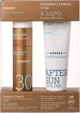 Korres Κόκκινο Σταφύλι Αντηλιακή Αντιρυτιδική κρέμα προσώπου κατά των πανάδων SPF30 50 ml & Cooling After Sun Γιαούρτι Πρόσωπο-Σώμα 50 ml