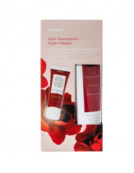 Korres Άγριο Τριαντάφυλλο Απολεπιστική Κρέμα Καθαρισμού 150 ml & Άγριο Τριαντάφυλλο Κρέμα Ημέρας κανονικές-μικτές 16 ml