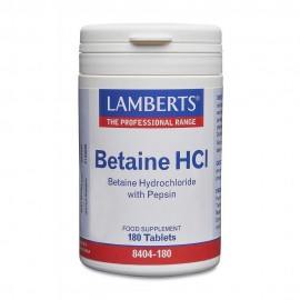 Lamberts Betaine HCL 324mg Pepsin για τη Καλή Λειτουργία του Πεπτικού 180Tabs