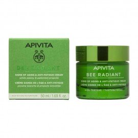 Apivita Bee Radiant Peony Rich Texture, Κρέμα για Σημάδια Γήρανσης & Ξεκούραστη Όψη Πλούσιας Υφής 50ml