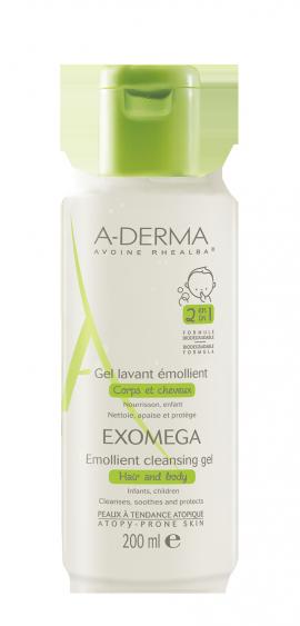 A-Derma Exomega Control Gel 2 en 1 corps et cheveux 200 ml