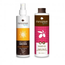 Messinian Spa Promo Face & Body Sunscreen SPF50 250ml & ΔΩΡΟ Shower Gel Pomegranate Honey 300ml