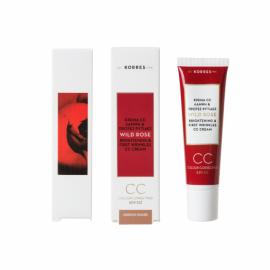 Korres Wild Rose Άγριο Τριαντάφυλλο Colour Correcting Cream CC Spf 30 Μέτρια Απόχρωση 30 ml