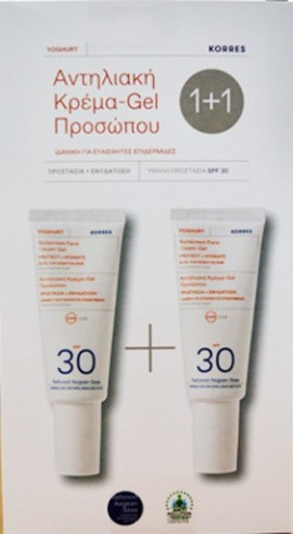 Korres Πακέτο Προσφοράς Sunscreen Face Cream-Gel Protect & Hydrate Spf30 2x40ml 1+1 Δώρο