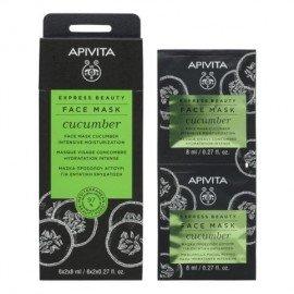 Apivita Express Beauty, Μάσκα Προσώπου με Αγγούρι για Εντατική Ενυδάτωση 2x8ml