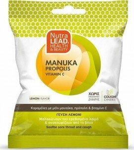 Nutralead Καραµέλες µε Μέλι Μανούκα, Πρόπολη & Βιταµίνη C για Ανακούφιση του Ερεθισμένου Λαιμού και του Βήχα με Γεύση Λεμόνι 40g