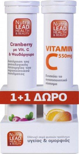 PharmaLead Cranberry 20 Αναβράζοντα & Δώρο VItamin C 550mg 20 Αναβράζοντα