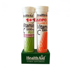 Health Aid Echinacea & Vitamin C 1000 mg 20 eff tabs Lemon & Δώρο Vitamin C 1000 mg 20 eff tabs Orange