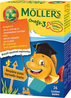 Mollers Omega 3 για Παιδιά 36 ζελεδάκια Πορτοκάλι Λεμόνι