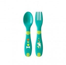 Chicco First Cutlery Σετ Πιρούνι - Κουτάλι Φαγητού 12m+