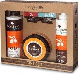 Messinian Spa Shower Gel Orange 300ml + Body Milk 300ml + Face & Body Scrub Prickly Pear/Dittany 250ml