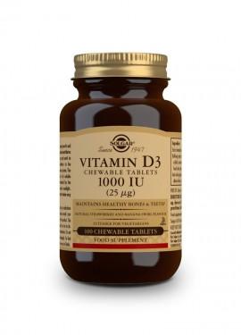 Solgar Vitamin D3 1000iu Chewable, Βιταμίνη D3 100 μασώμενες ταμπλέτες
