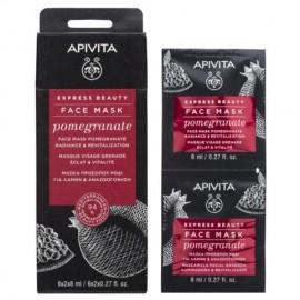 Apivita Express Beauty, Μάσκα Προσώπου με Ρόδι για Λάμψη & Αναζωογόνηση 2x8ml