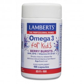 Lamberts Omega 3 for Kids, 100 Μασώμενες Κάψουλες με Γεύση Βατόμουρο