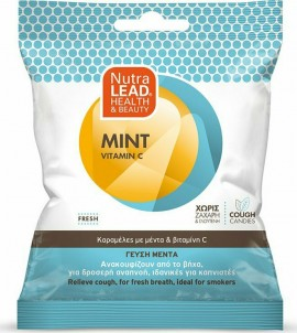 NutraLead Mint + Vitamin C Καραμέλες Με Γεύση Μέντα Ιδανικές Για Καπνιστές Χωρίς Ζάχαρη & Γλουτένη 40gr