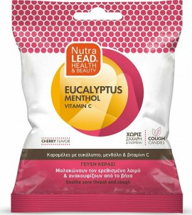 Nutralead Καραμέλες με Ευκάλυπτο, Μενθόλη & Βιταμίνη C για Ανακούφιση του Ερεθισμένου Λαιμού & του Βήχα - Γεύση Κεράσι, 40gr