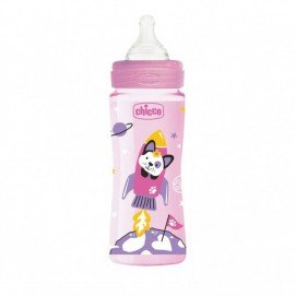 Chicco Μπιμπερό Πλαστικό Well Being Ροζ Θηλή Σιλικόνης 4m+ 330 ml